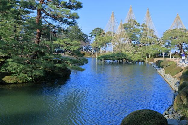 お正月の兼六園 霞ヶ池(蓬莱島と唐崎松)