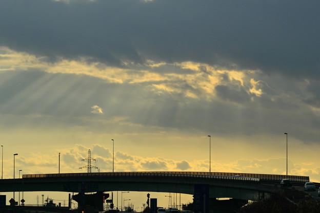 写真: 帰り道の元旦の光芒