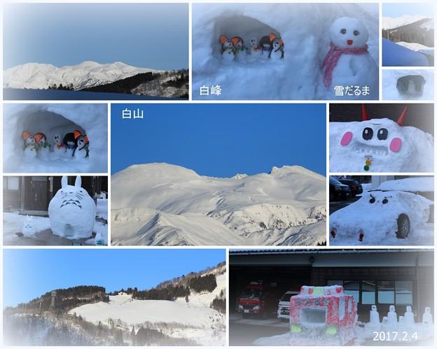 白山市 白峰 白山と雪だるま