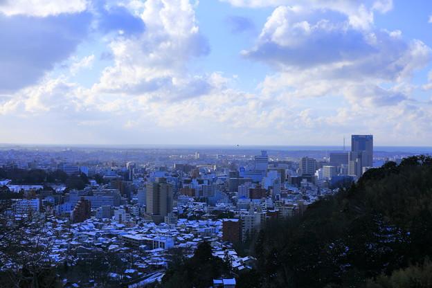 卯辰山から 街並みと雪 日本海
