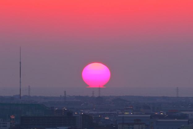ピンクのだるま夕日