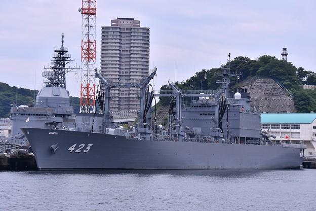軍港めぐりの遊覧船に乗り。。吉倉桟橋に停泊中の補給艦ときわ