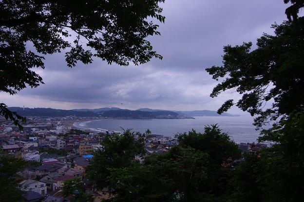 長谷寺の紫陽花畑から見える鎌倉由比ヶ浜海岸。。20160624