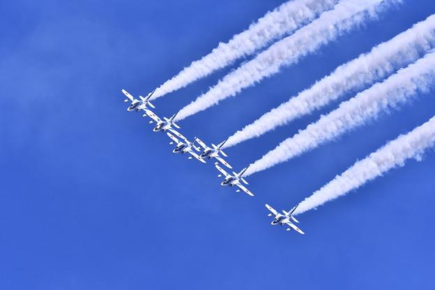 航空ページェント予行。。ブルーインパルス デルタループから1回転して 丘珠の空