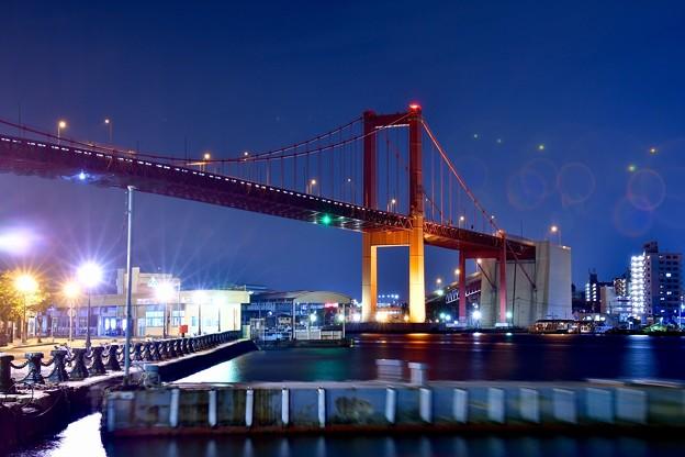 北九州の若戸大橋。。夜のライトアップ 20161007