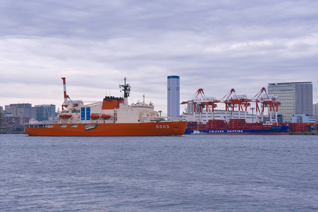 撮って出し。。南極へ向けて晴海へ寄港 砕氷艦しらせ 東京湾北上 11月10日