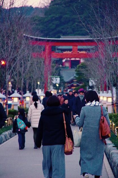 夕暮れの鎌倉 鶴岡八幡宮 初詣へ。。20170107