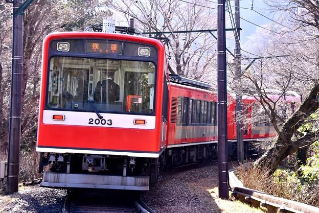 箱根登山鉄道大平台駅。。3000形アレグラの後ろは2000形サン・モリッツ号 20170129