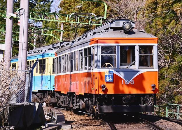 箱根登山鉄道大平台駅付近。。記念車輌小田急ロマンスカーSE塗装 モハ2形108号 20170129