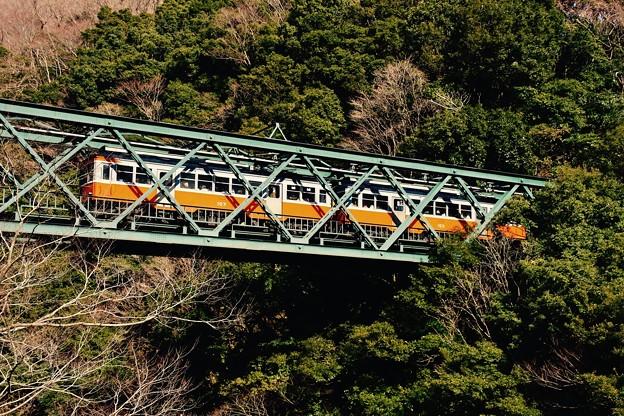 冬の鉄橋を渡る箱根登山鉄道モハ1形2両編成。。20170129
