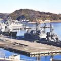 朝の横須賀基地。。いっぱい来ている護衛艦たち。。20170212