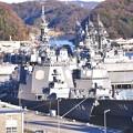 朝の横須賀基地。。奥の逸見岸壁にはイージス艦きりしまと護衛艦てるづき。。20170212