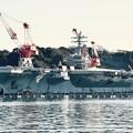 軍港めぐりから見る米海軍 原子力空母ロナルドレーガン メンテナンス中。。(^^)20170212
