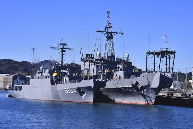 軍港めぐりから見る長浦港の海洋観測艦わかさ、にちなん。。20170212