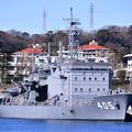 Photos: 長浦港に接岸されている潜水艦救難母艦ちよだ。。軍港めぐりから 20170212