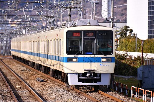 夕方の開成駅から小田急最後の白青カラーの8000系。。20170219
