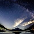 富士山と湖と天の川銀河