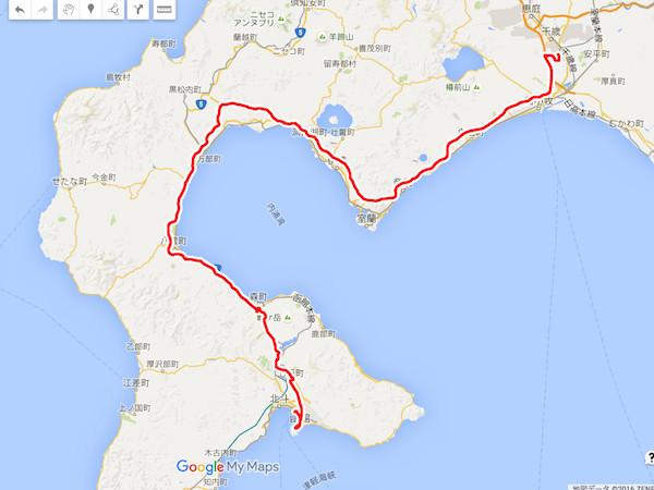 この日の自走移動距離は約290km