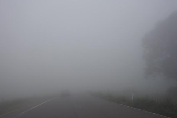 前が見えないほどの濃い霧に包まれ