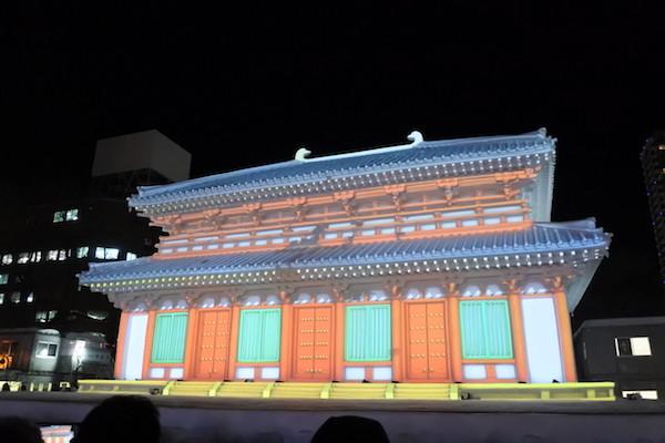 奈良 興福寺の石像でのプロジェクションマッピング